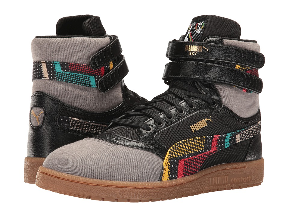 PUMA - Sky II Hi BHM (Black/High-Risk Red/Gum) Men's Lace up casual Shoes