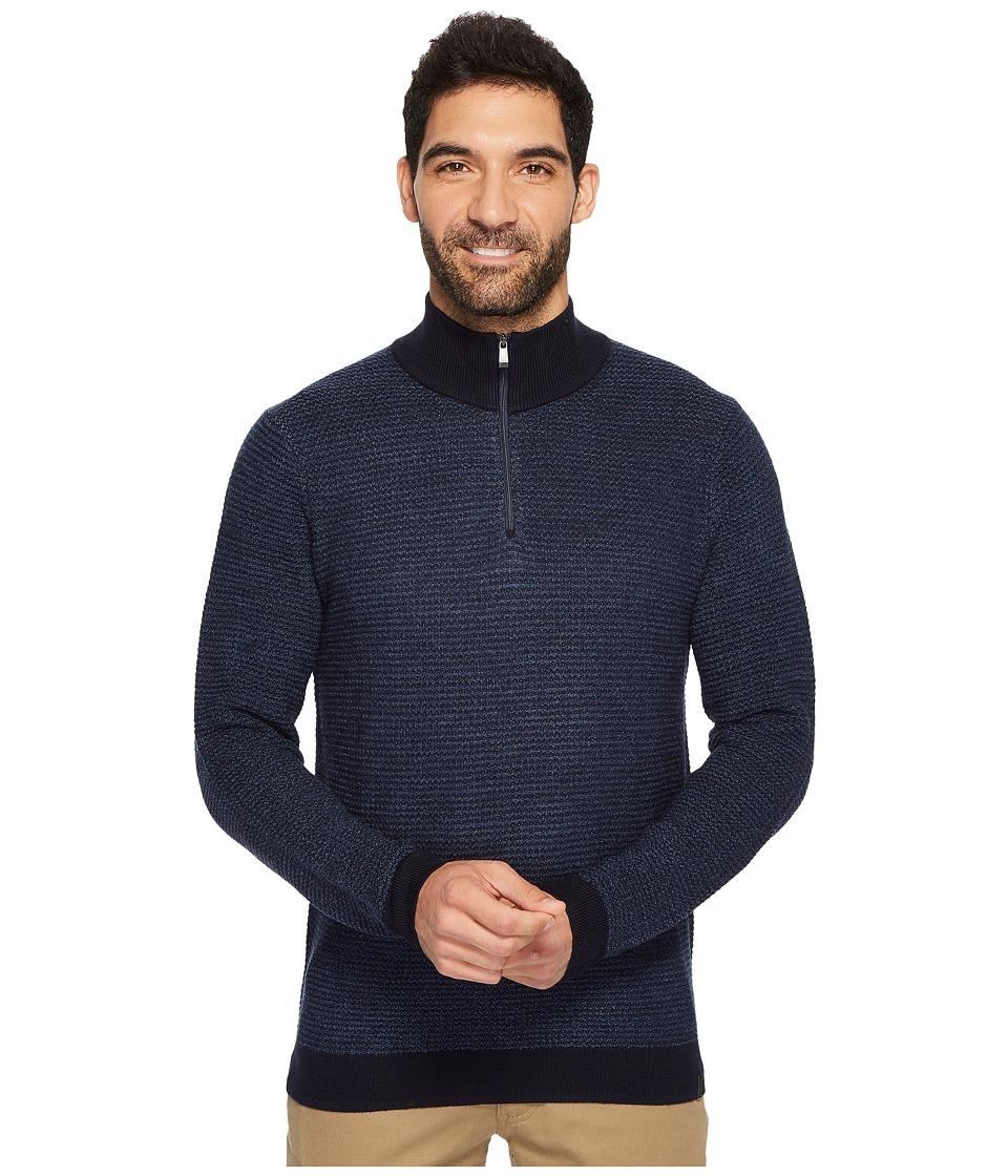 Calvin Klein Merino Textured Tweed 1/4 Zip Sweater (Roma Combo) Men