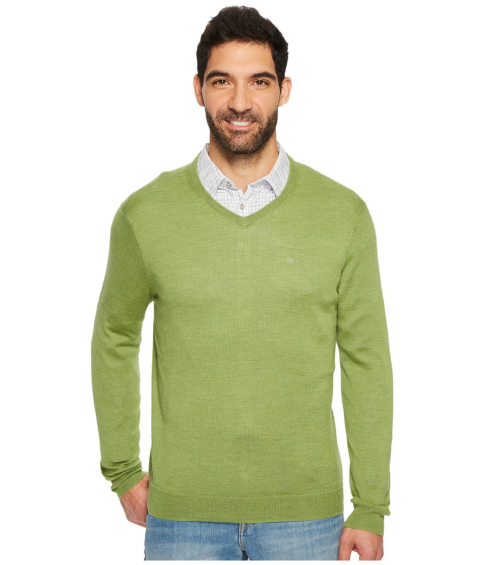 Calvin Klein Solid Merino V-Neck Sweater (Airasca) Men