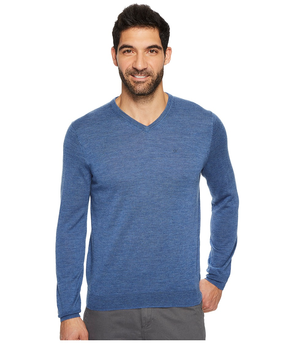 Calvin Klein Solid Merino V-Neck Sweater (Shuttle Heather) Men