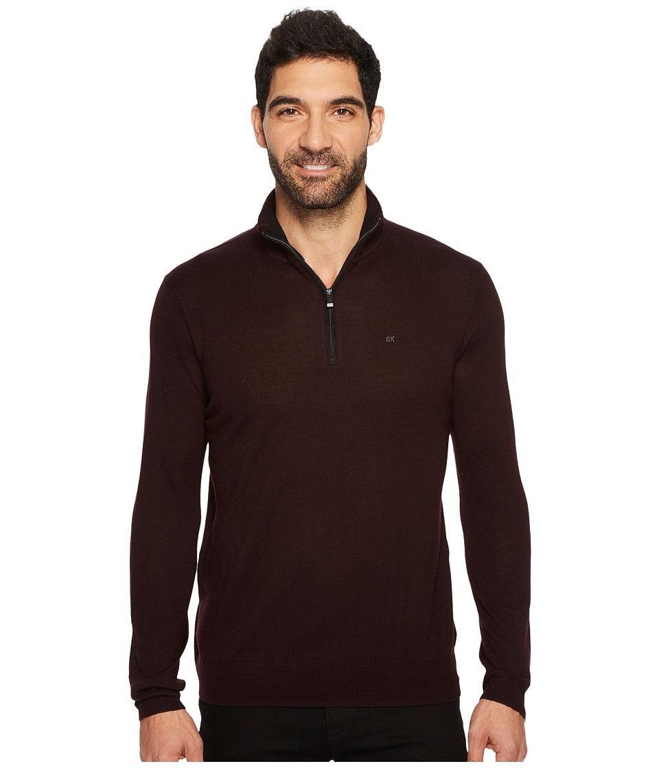 Calvin Klein Merino End on End 1/4 Zip Sweater (Dark Chestnut) Men
