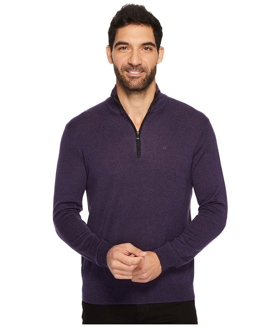 Calvin Klein Merino End on End 1/4 Zip Sweater (Black Amet Mouline) Men