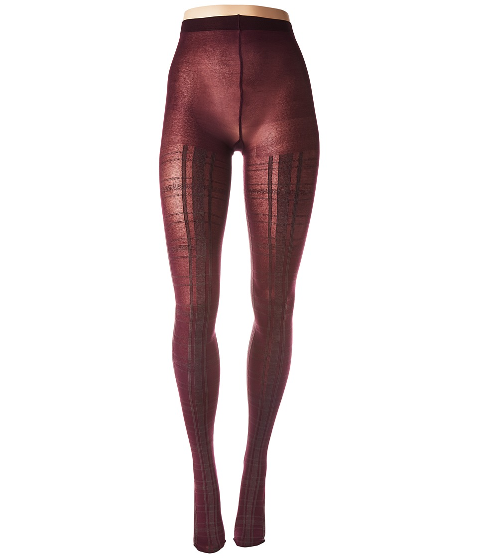 HUE Plaid Tights with Control Top (Deep Burgundy) Control Top Hose