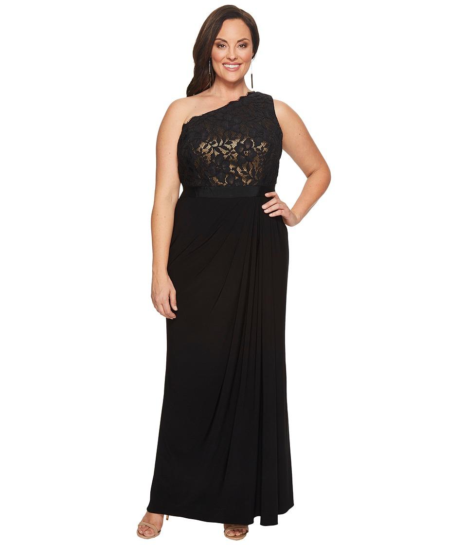 Adrianna Papell Plus Size Metallic Lace Jersey Dress (Black/Copper) Women
