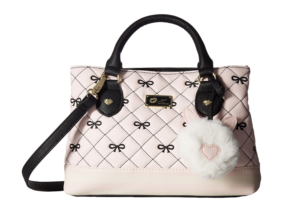 Luv Betsey - Candi Quilted Mini Triple Compartment Satchel (Pink Bow) Satchel Handbags