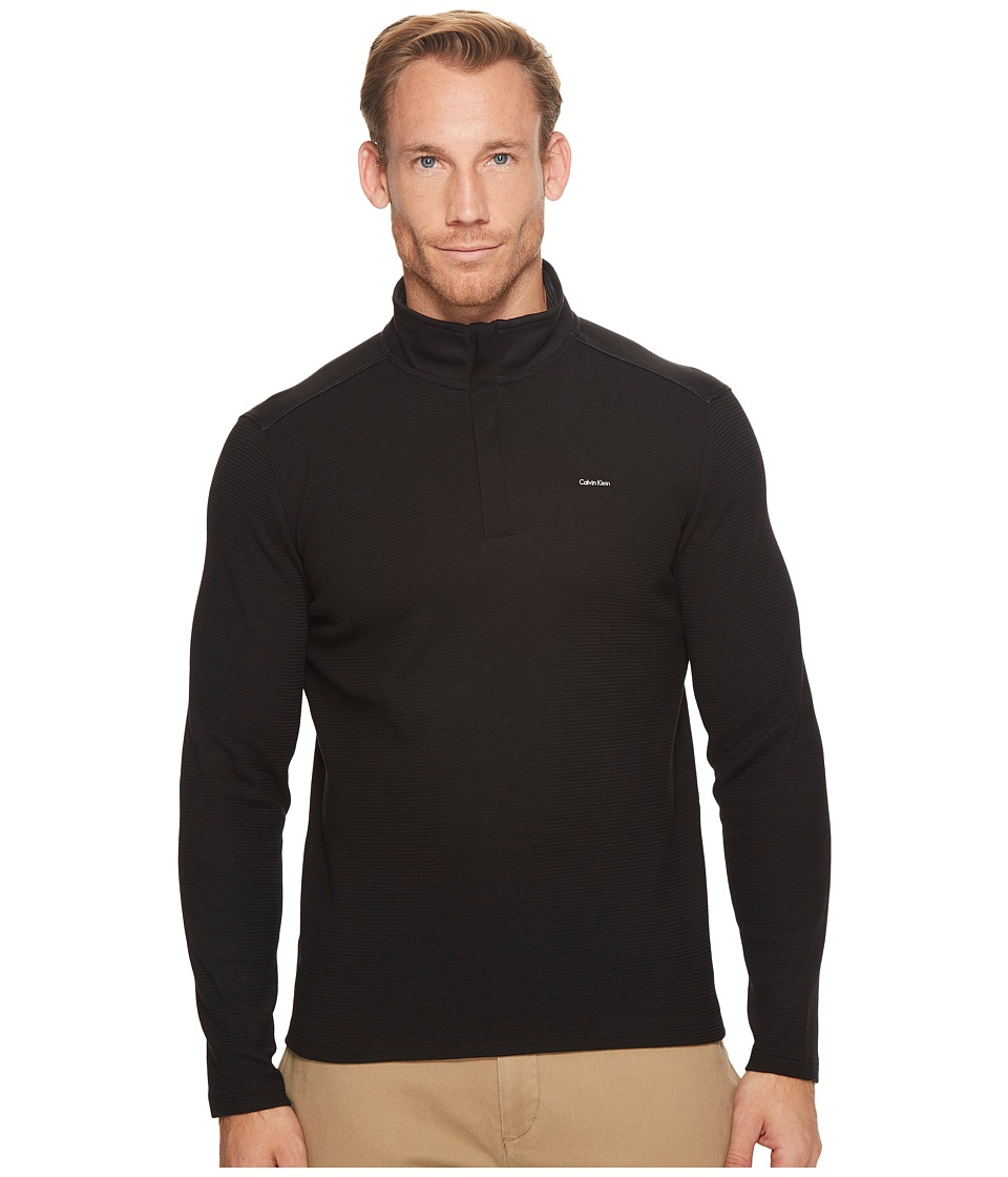 Calvin Klein Jacquard Mock Neck 1/4 Zip Sweater (Black) Men