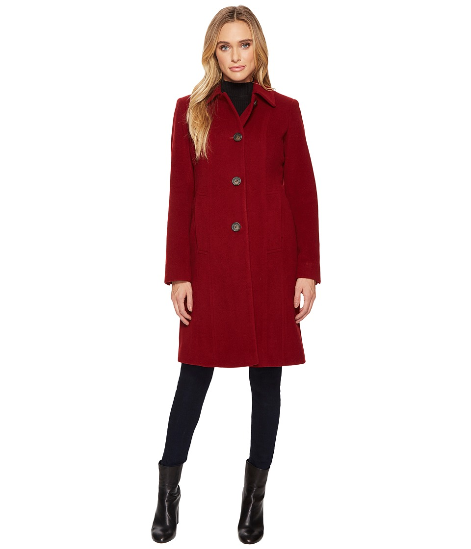 Anne Klein - 10% Cashmere Club Collar Walker (Red) Women's Coat