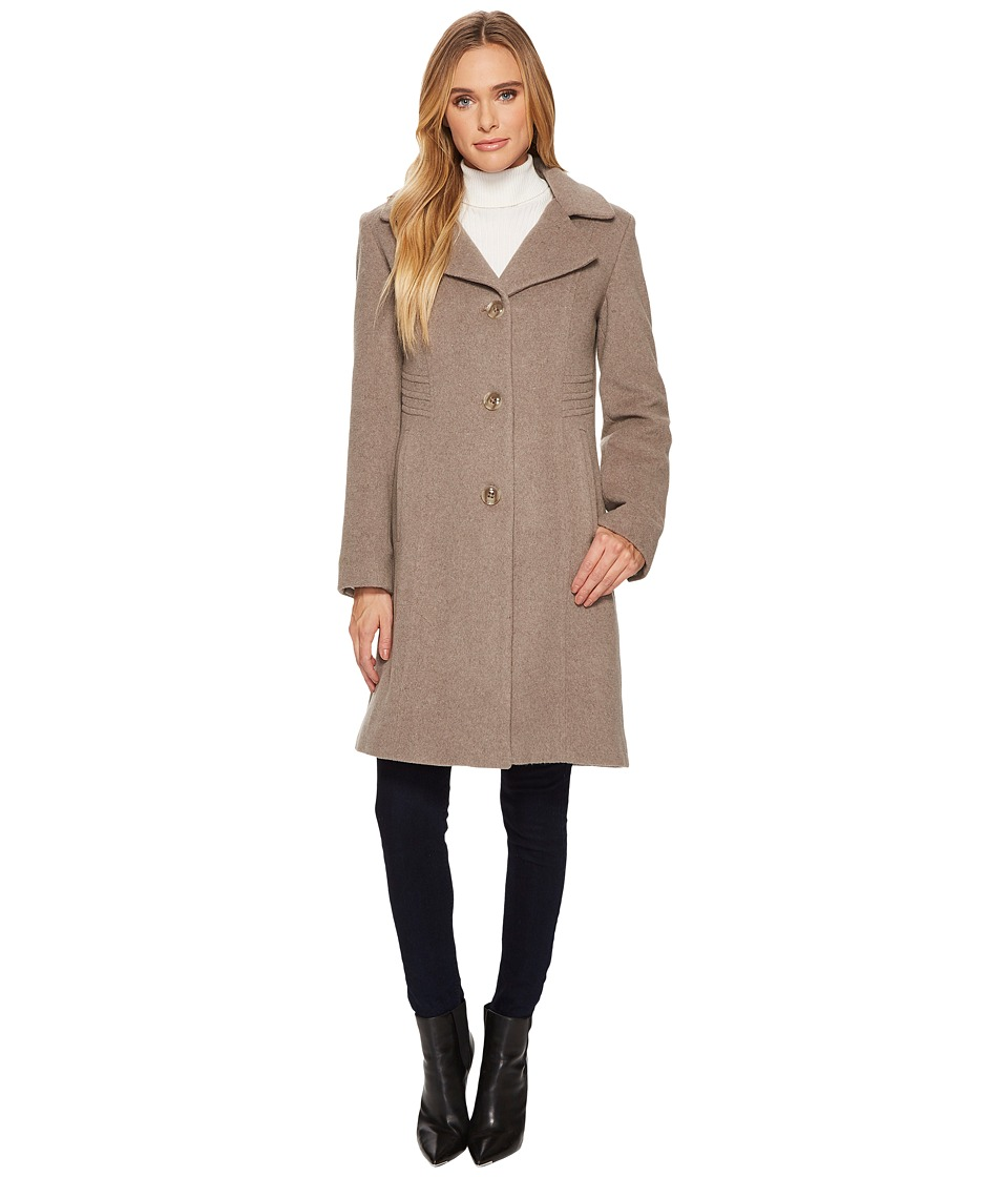 Anne Klein - 10% Cashmere Notch Collar Walker (Taupe) Women's Coat