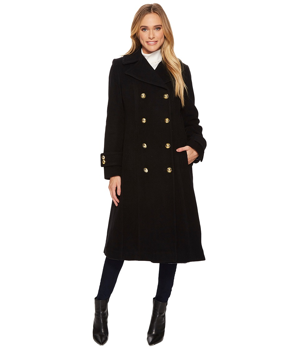 Anne Klein - Long 10% Cashmere Double Breasted (Black) Women's Coat