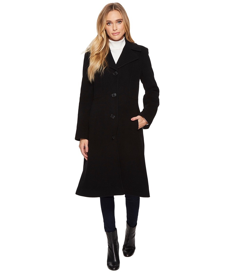 Anne Klein - Long 10% Single Breasted Cashmere (Black) Women's Coat