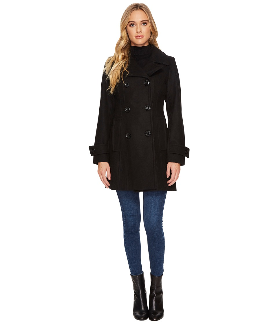 Anne Klein - 33 Double Breasted Melton Peacoat (Black) Women's Coat