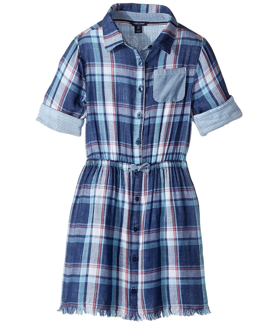 Tommy Hilfiger Kids - Yarn-Dye Plaid Shirtdress (Big Kids) (Flag Blue) Girl's Dress