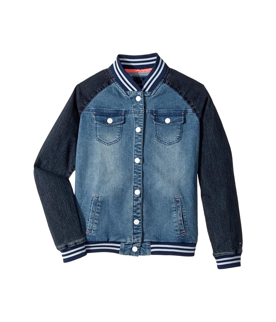 Tommy Hilfiger Kids Denim Baseball Jacket (Big Kids) (Medium Wash) Girl