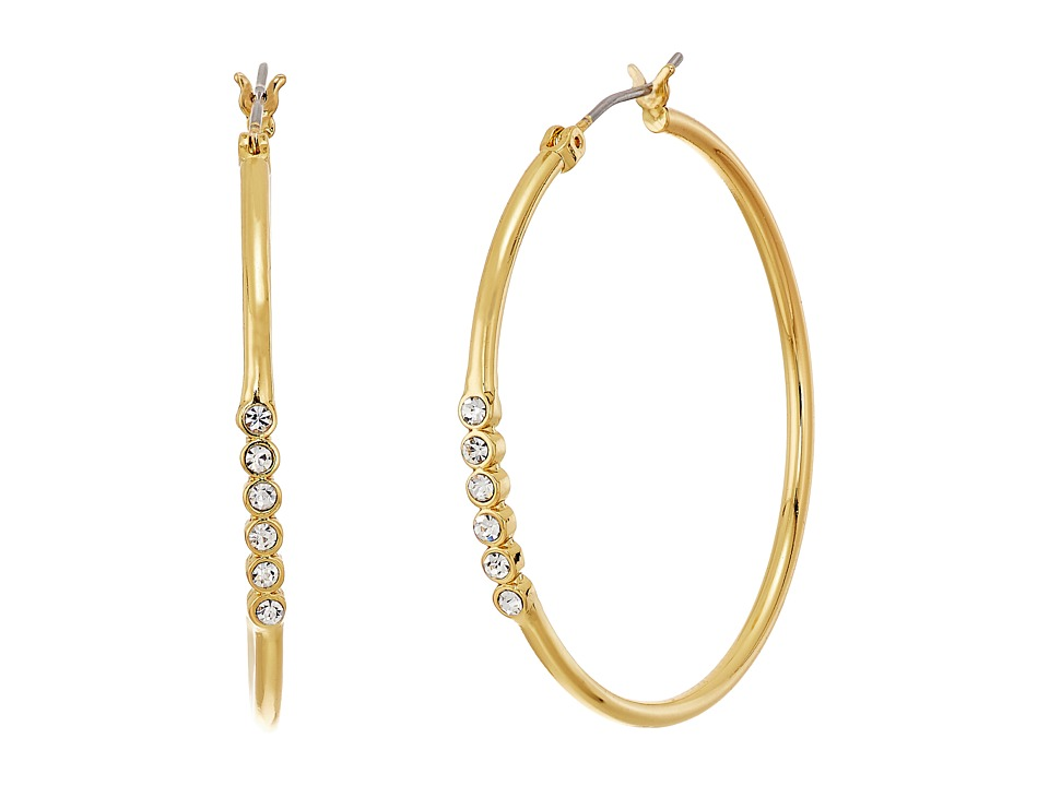 Rebecca Minkoff - Bubble Stone Hoops Earrings (Gold/Crystal) Earring