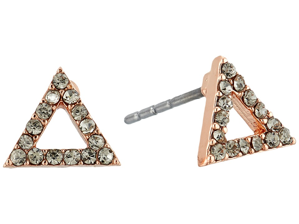 Rebecca Minkoff - Triangle Stud Earrings (Rose Gold/Black Diamond) Earring