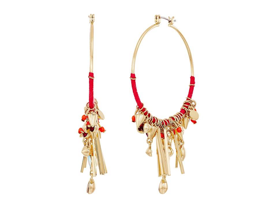 Rebecca Minkoff - Gemma Charm Hoop Earrings (Gold/Pink) Earring