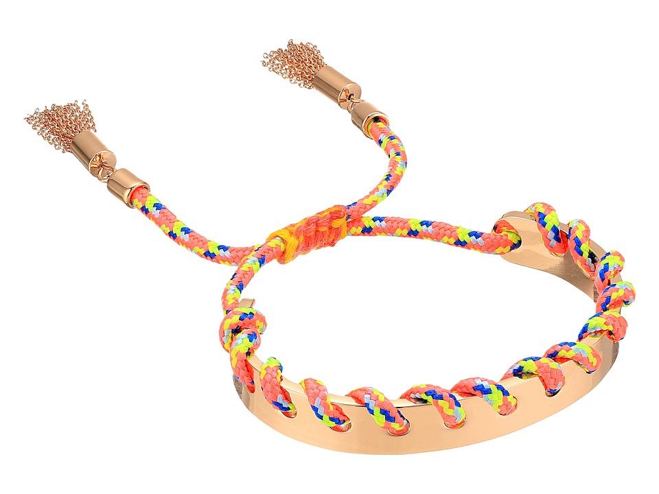 Rebecca Minkoff - Climbing Rope Whipstitch Skinny Cuff Bracelet (Rose Gold/Neon Pink Multi) Bracelet