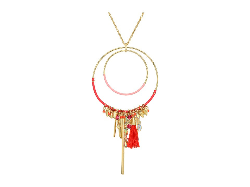 Rebecca Minkoff - Gemma Charm Pendant Necklace (Gold/Pink) Necklace