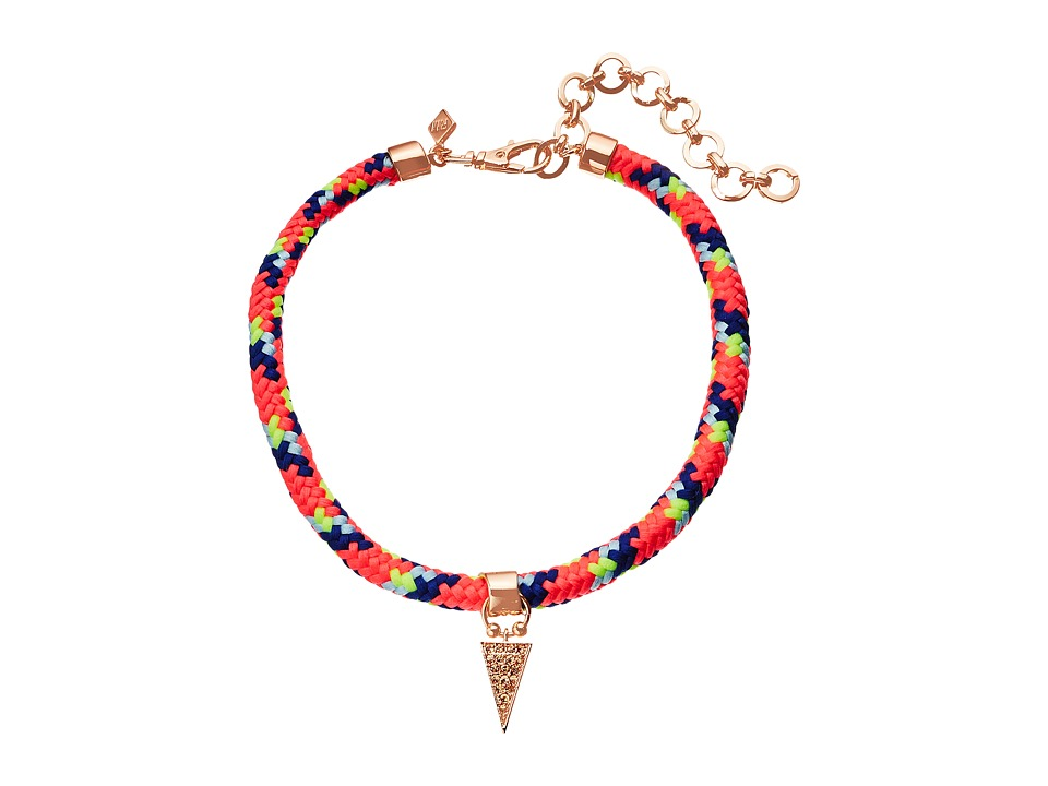 Rebecca Minkoff - Climbing Rope Choker Necklace with Charm Drop (Rose Gold/Neon Pink Multi) Necklace