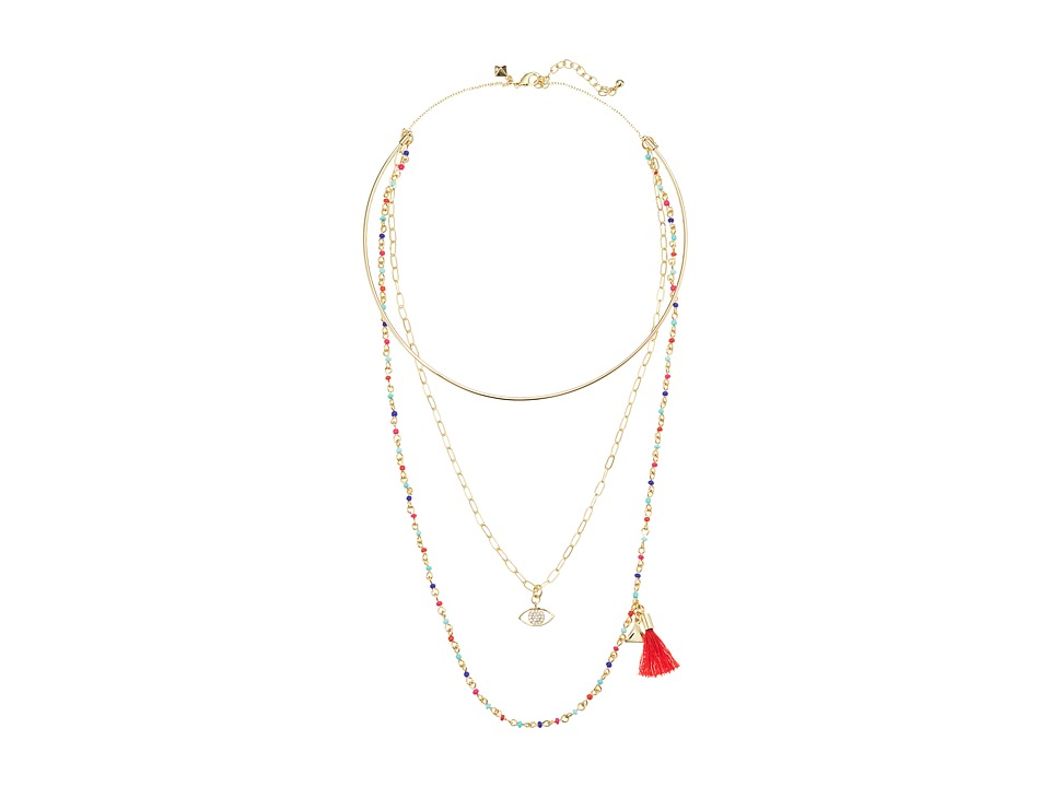 Rebecca Minkoff - Layered Collar Necklace with Multi Seed Beads (Gold/Warm Multi) Necklace