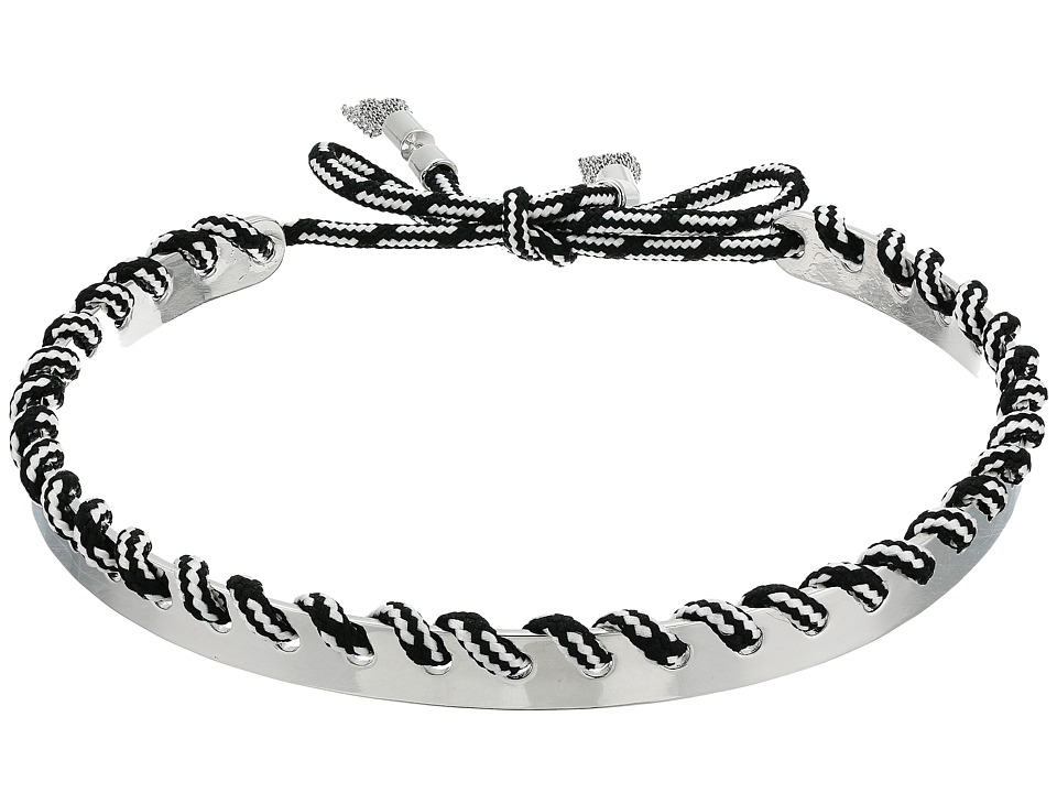 Rebecca Minkoff - Climbing Rope Whipstitch Collar Necklace (Silver/Black) Necklace