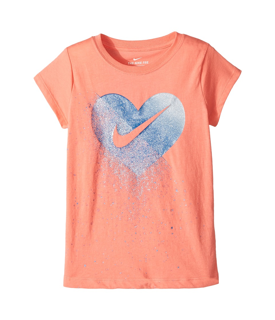 Nike Kids - Glitter Heart Short Sleeve Tee (Little Kids) (Sunblush) Girl's T Shirt