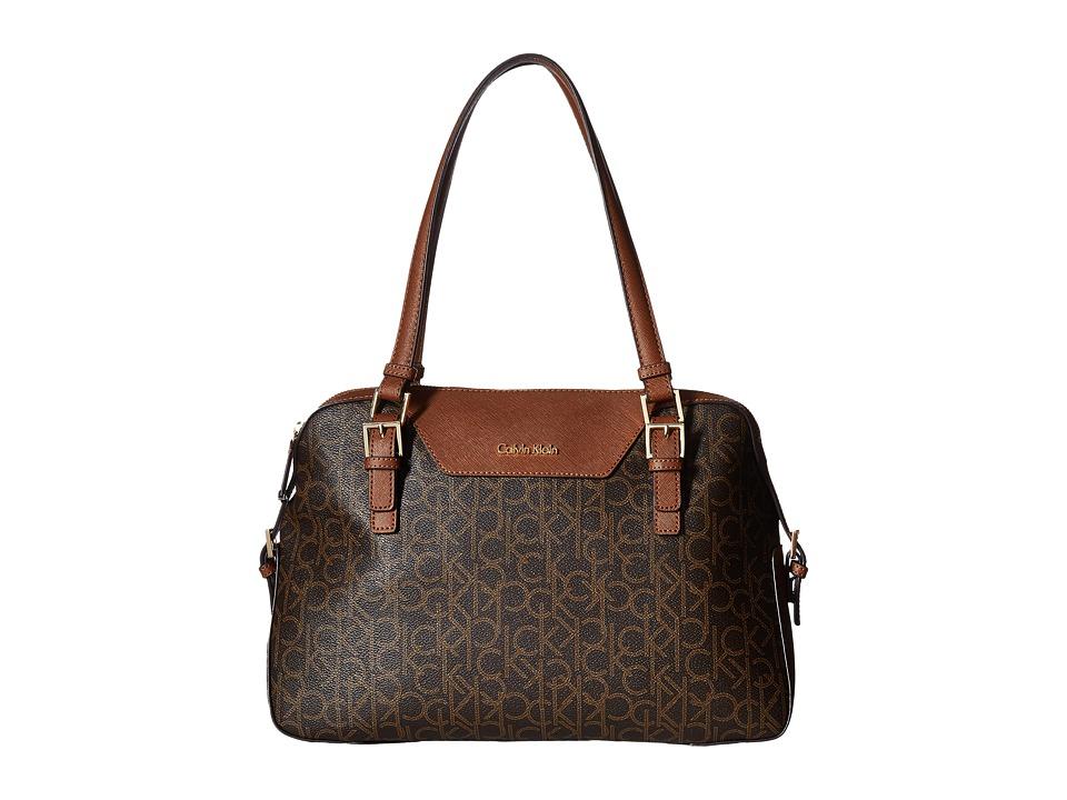 Calvin Klein - Hudson Monogram Satchel (Brown/Khaki/Luggage Saffiano) Satchel Handbags