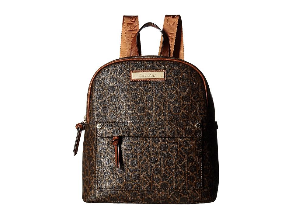Calvin Klein - Hudson Monogram Backpack (Brown/Khaki/Luggage Saffiano) Backpack Bags