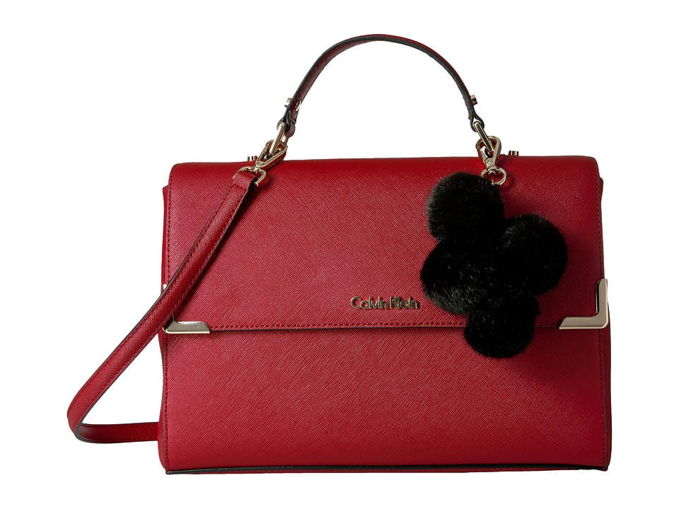 Calvin Klein - Saffiano Satchel (Red) Satchel Handbags