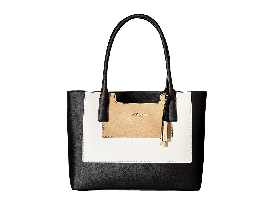 Calvin Klein - Key Item Saffiano Leather Tote (Black/White/Nude) Tote Handbags
