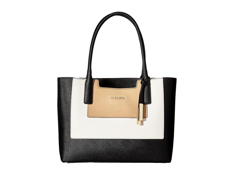 Calvin Klein - Key Item Saffiano Leather Tote (Black/White/Nude) Tote Handbags