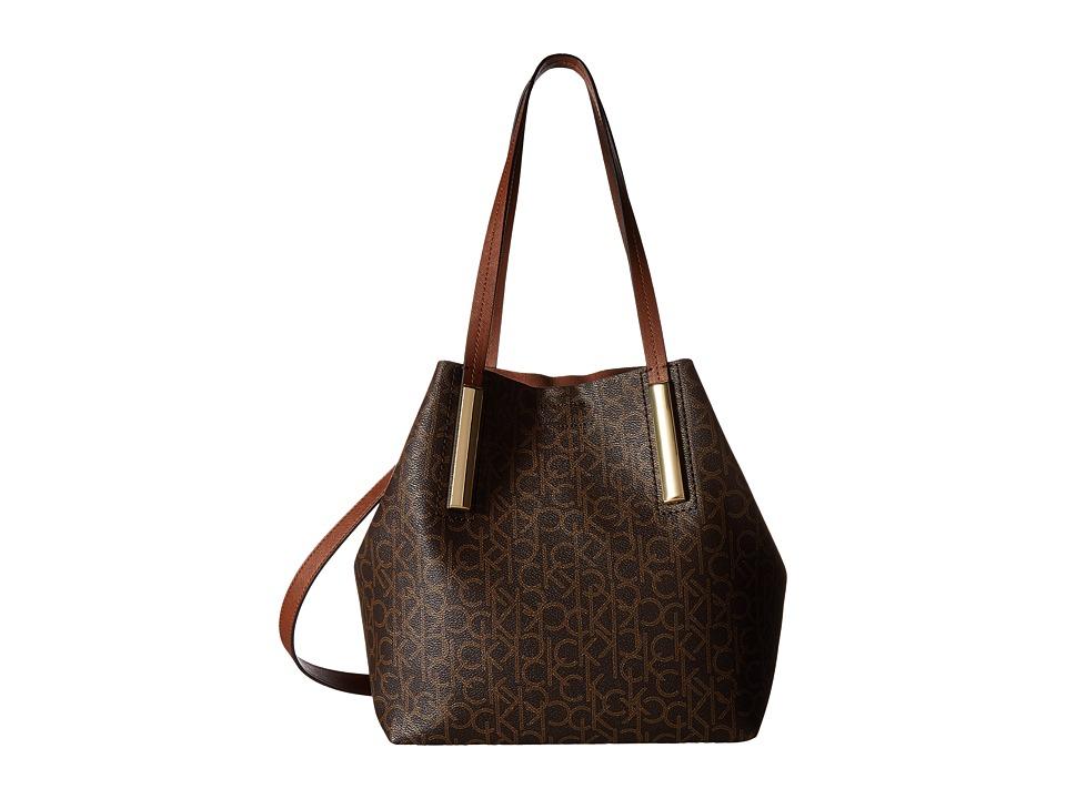 Calvin Klein - Unlined Monogram Tote (Brown/Khaki/Luggage Saffiano) Tote Handbags