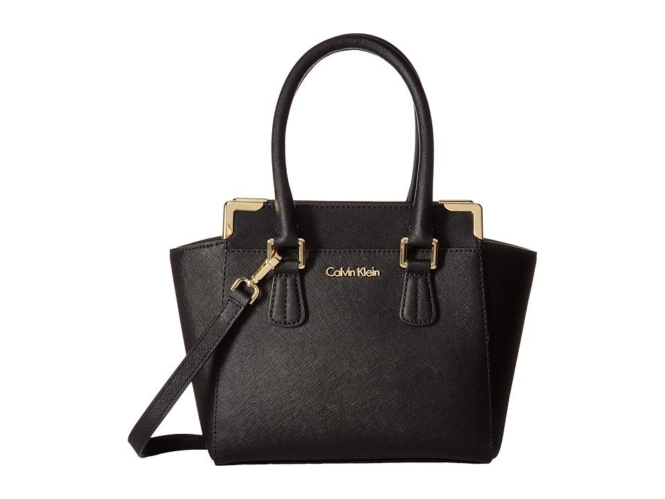 Calvin Klein - Saffiano Crossbody (Black/Gold) Shoulder Handbags
