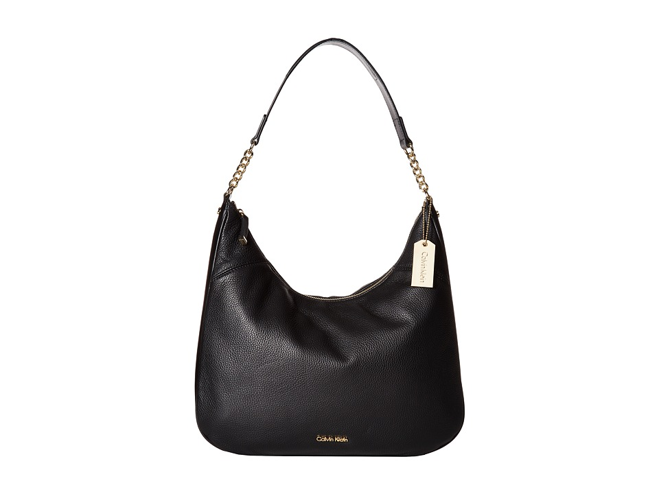 Calvin Klein - Classic Pebble Leather Hobo (Black) Hobo Handbags