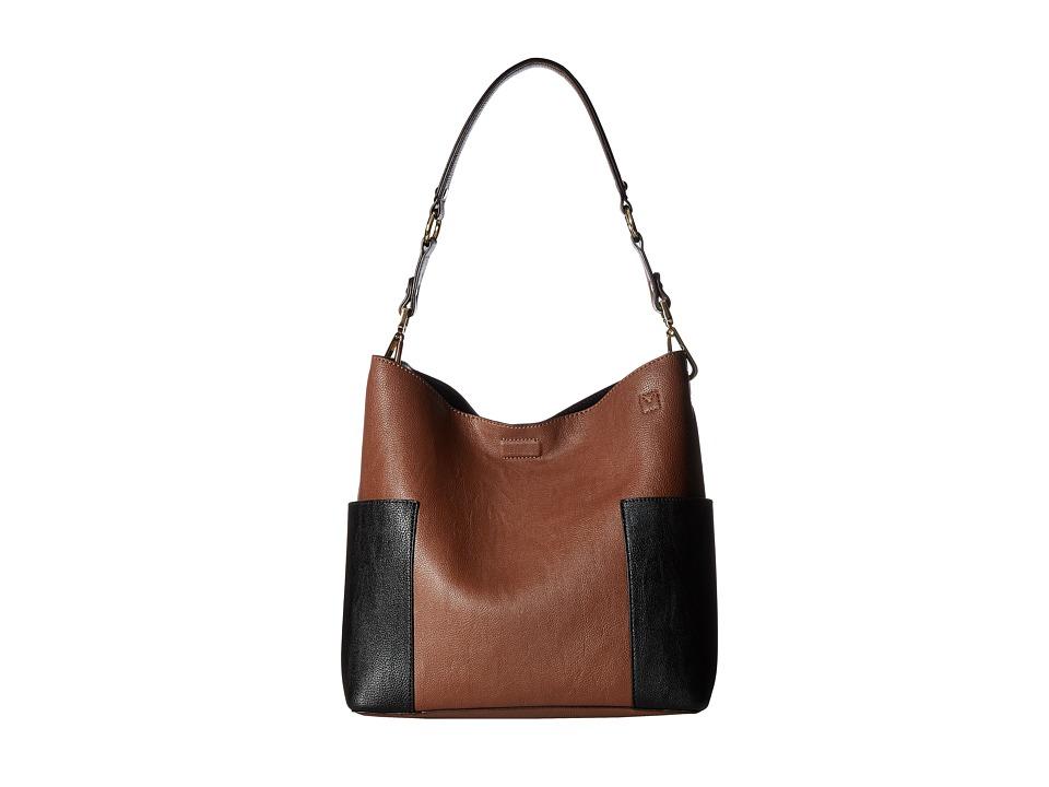 Calvin Klein - Unlined Pebble PVC Hobo (Luggage/Black) Hobo Handbags