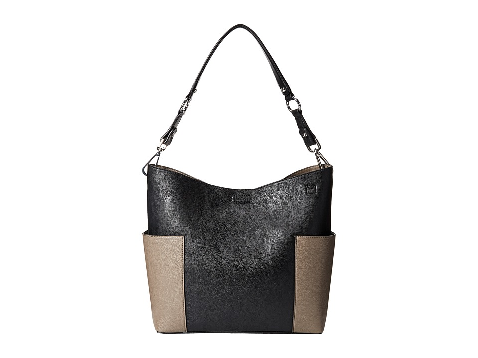 Calvin Klein - Unlined Pebble PVC Hobo (Black/Grey) Hobo Handbags