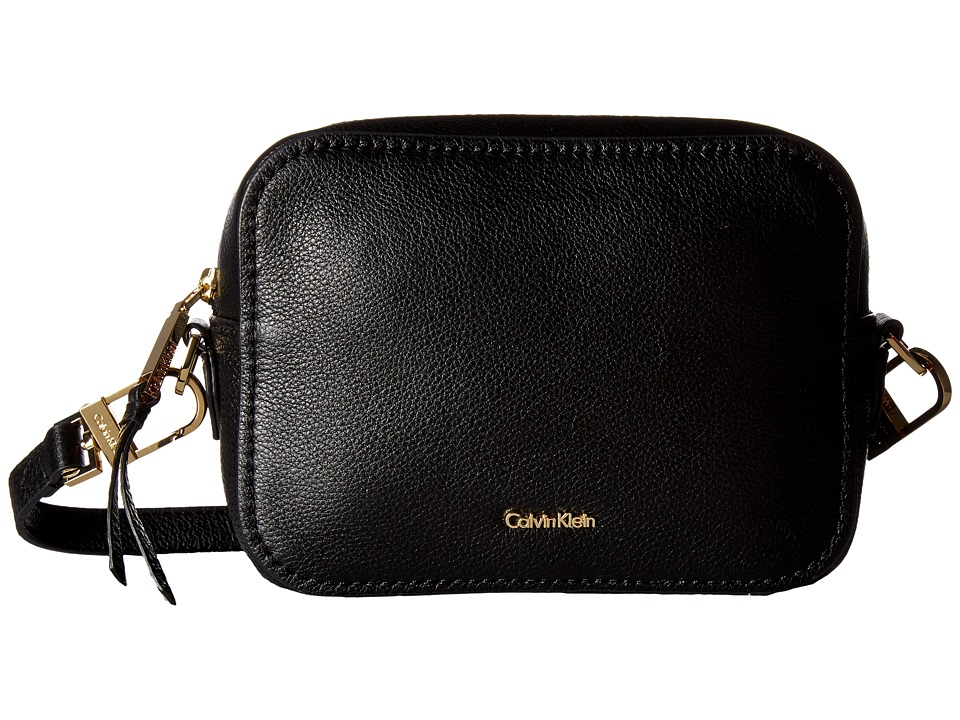 Calvin Klein - Erica Pebble Leather Camera Crossbody Bag (Black/Gold) Cross Body Handbags