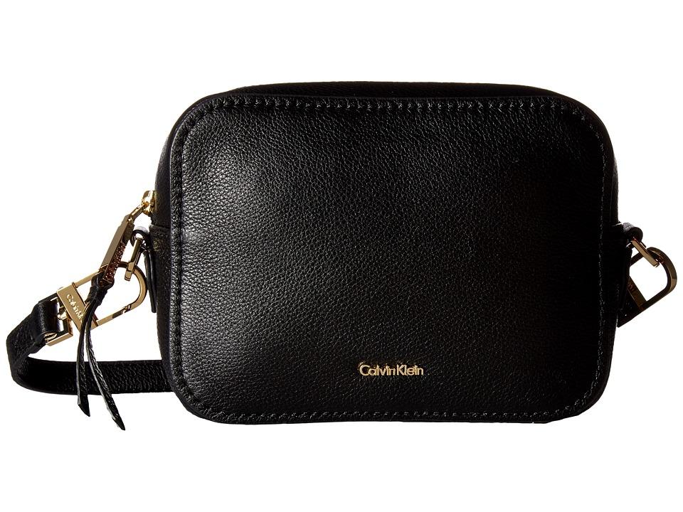 Calvin Klein - Erica Pebble Leather Camera Crossbody Bag (Black/Gold) Cross Body Handbags