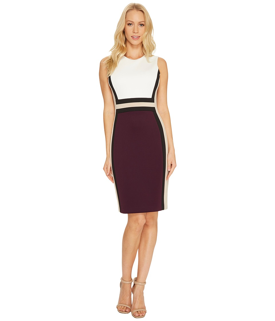 Calvin Klein Sleeveless Color Block Sheath CD7M1V5K White-White-Black-Aubergine-Khaki Dress
