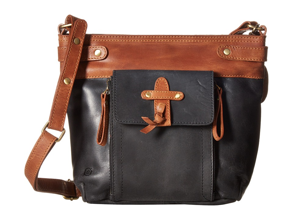 Born - Ponoma Distressed Crossbody (Black/Saddle) Cross Body Handbags