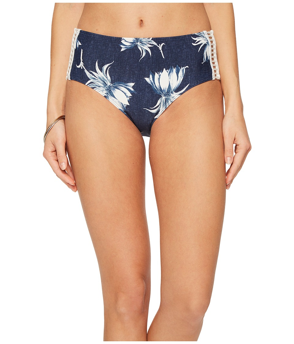 Roxy Hippy Hour Mid Waist Bikini Bottom (Dress Blue Swim Cadaques Flower) Women