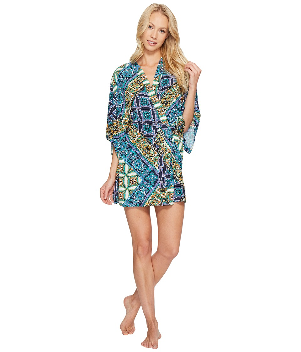 Josie - Summer Festival Happi Coat (Blue Topaz/Ivory) Women's Pajama