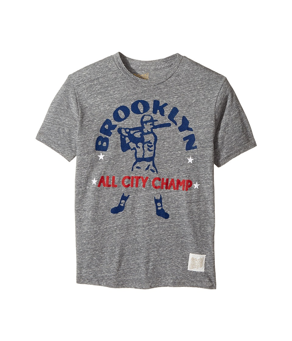 The Original Retro Brand Kids - Brooklyn All City Champ Short Sleeve Tri-Blend Tee (Big Kids) (Streaky Grey) Boy's T Shirt