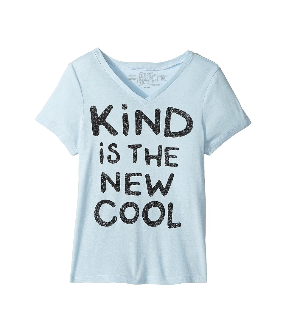 The Original Retro Brand Kids - Kind Is The New Cool Short Sleeve Tri-Blend Crew (Big Kids) (Streaky Light Blue) Girl's T Shirt