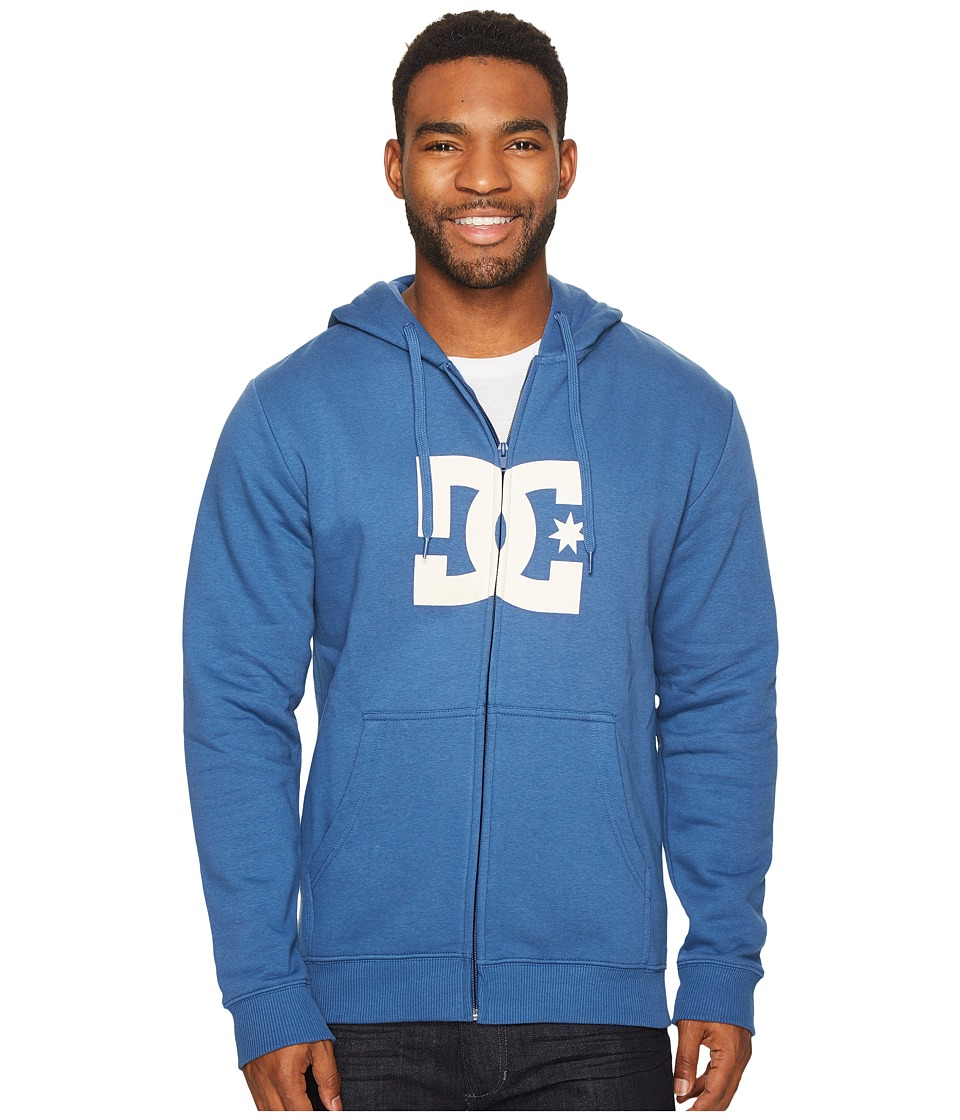 DC - Star Zip Hoodie (Washed Indigo) Men's Sweatshirt