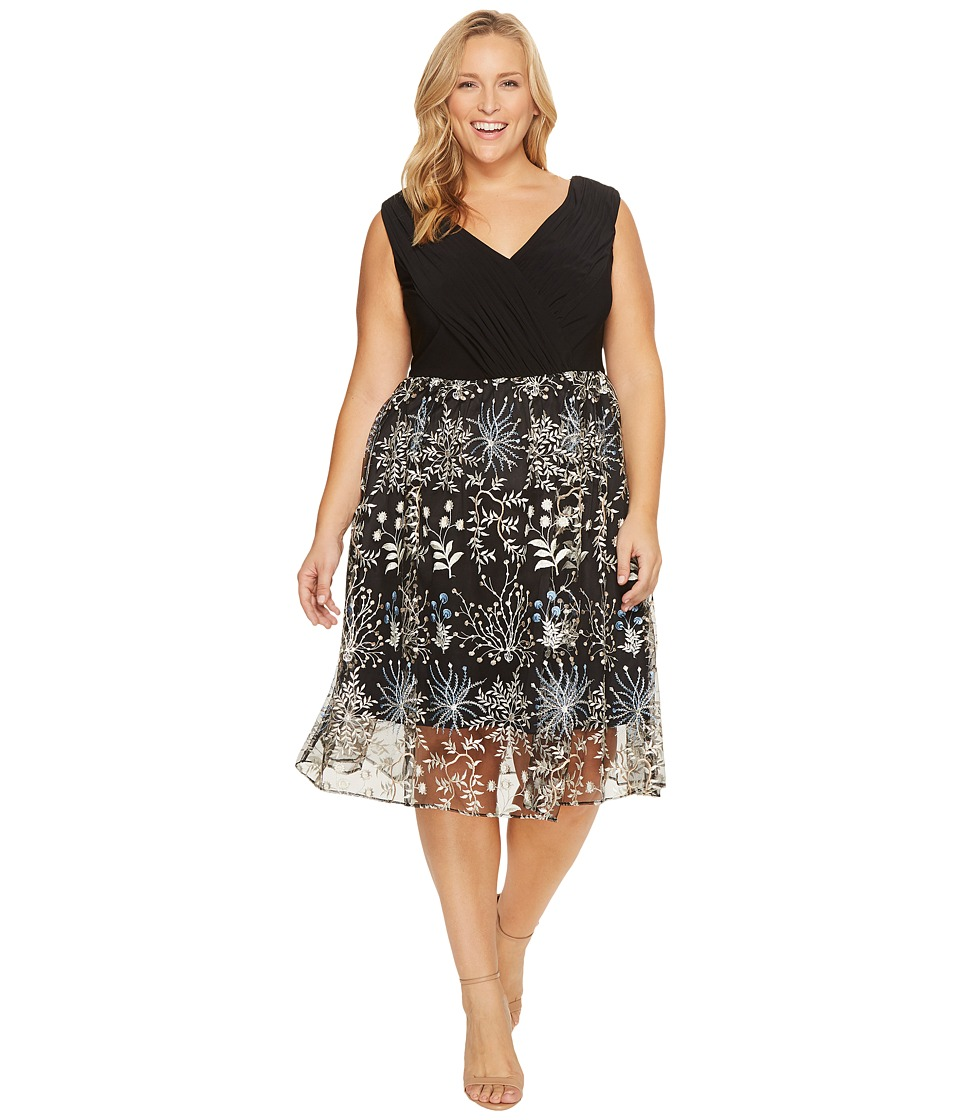 Adrianna Papell Plus Size Etheral Embroidery Fit and Flare Dress