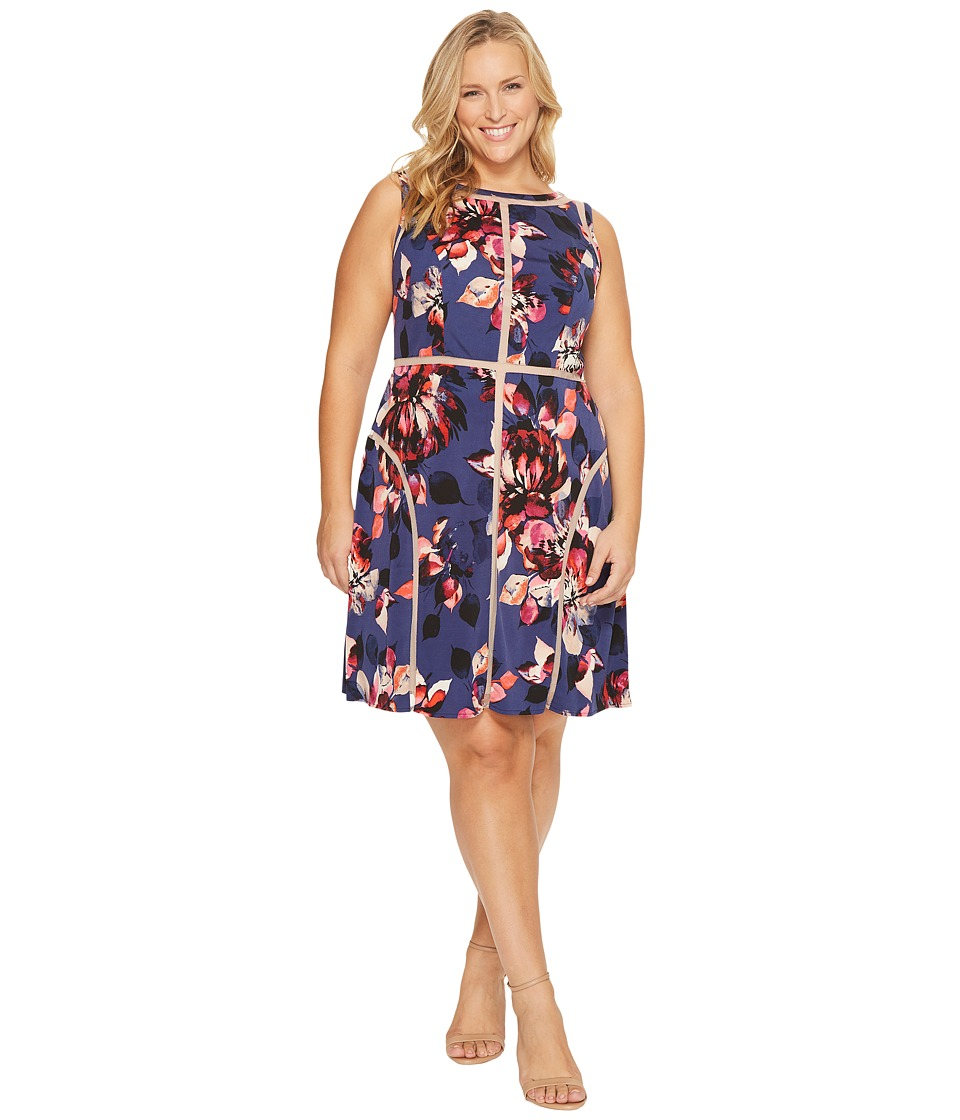 Adrianna Papell - Plus Size Spliced Floral Print Jersey Dress (Navy Multi) Women's Dress