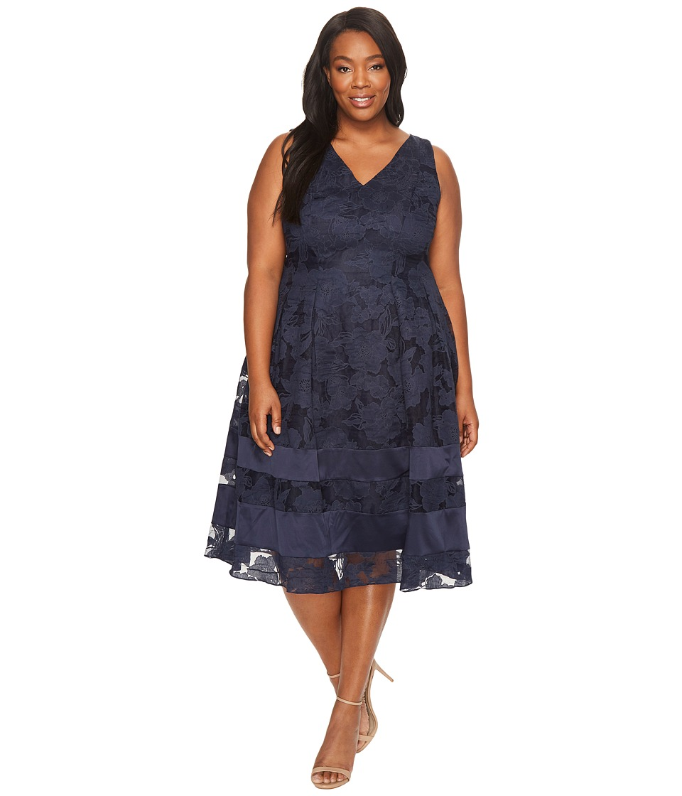 Adrianna Papell Plus Size Burnout Fit and Flare Dress (Navy/Black) Women