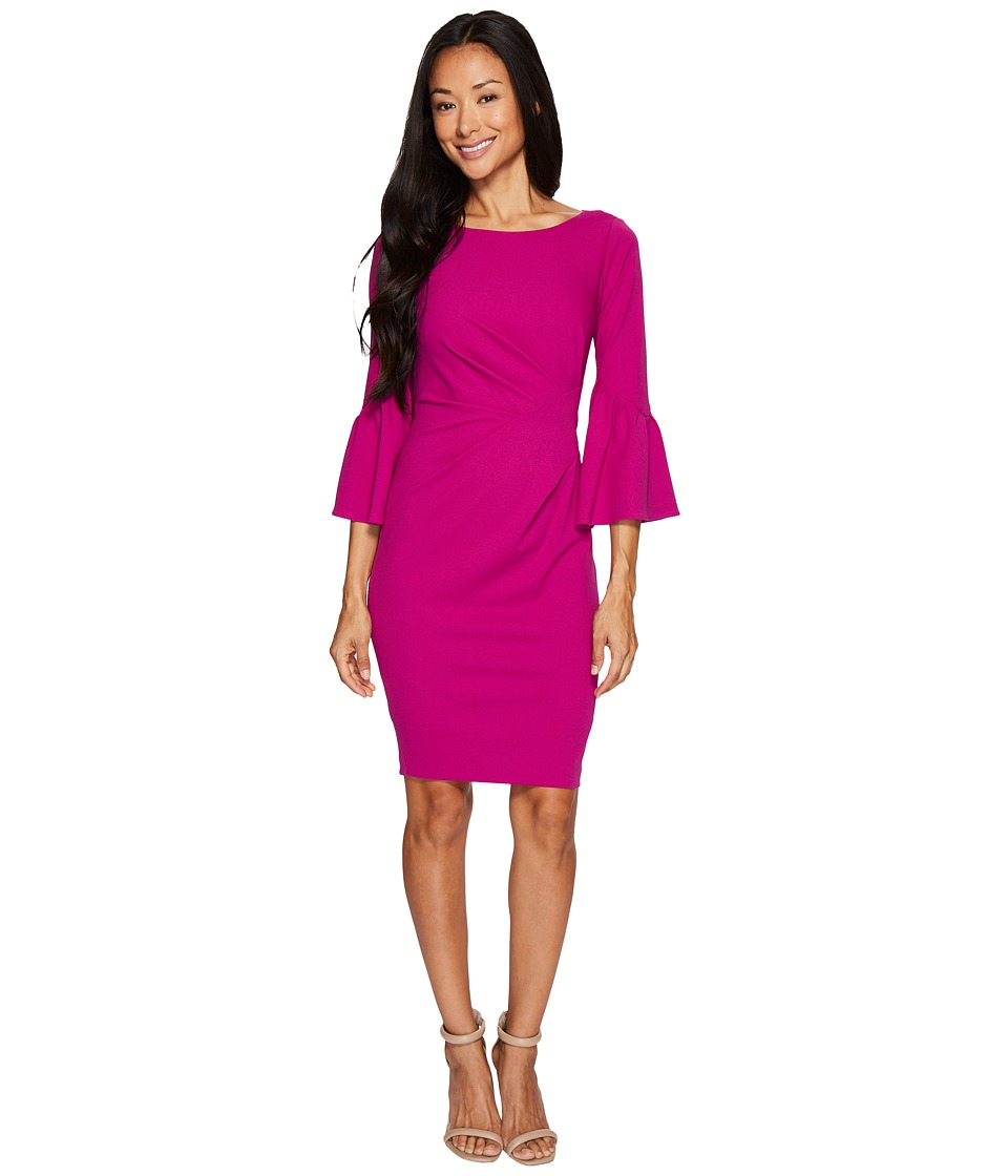 Adrianna Papell - Petite Knit Crepe Sheath Dress (Deep Berry) Women's Dress