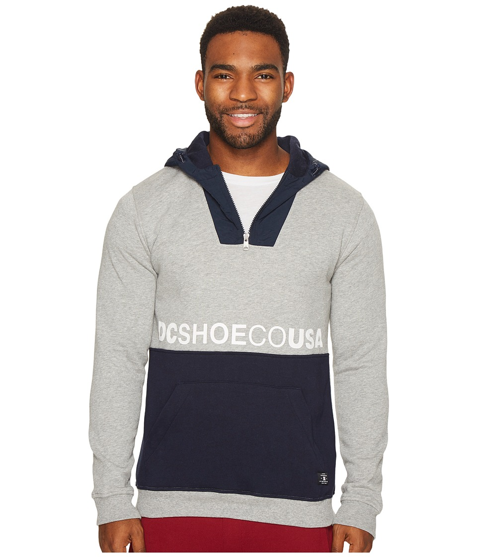 DC - Longden Half-Zip Pullover Hoodie (Grey Heather) Men's Sweatshirt